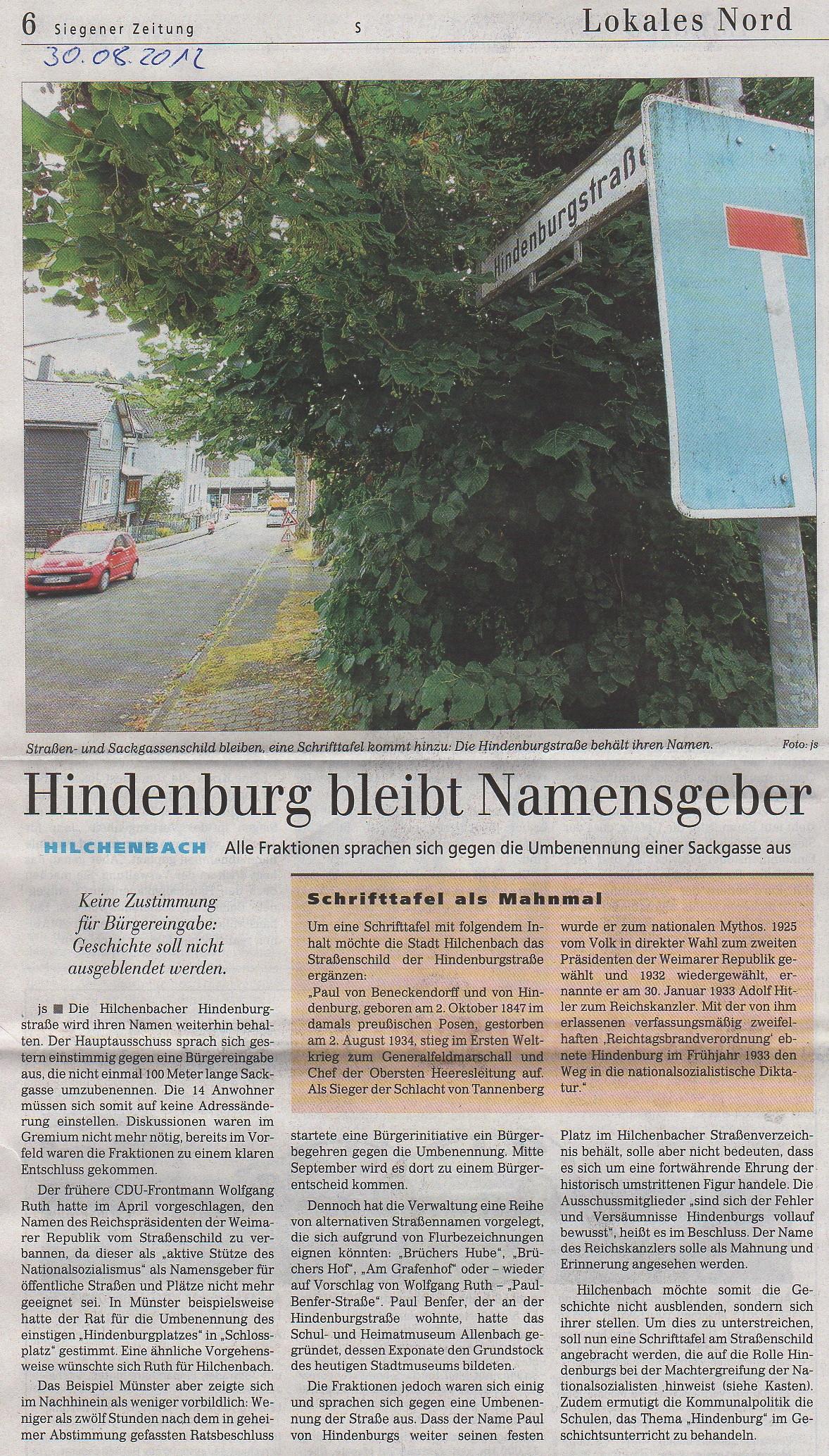 Artikel aus der Siegener Zeitung vom 30.August 2012