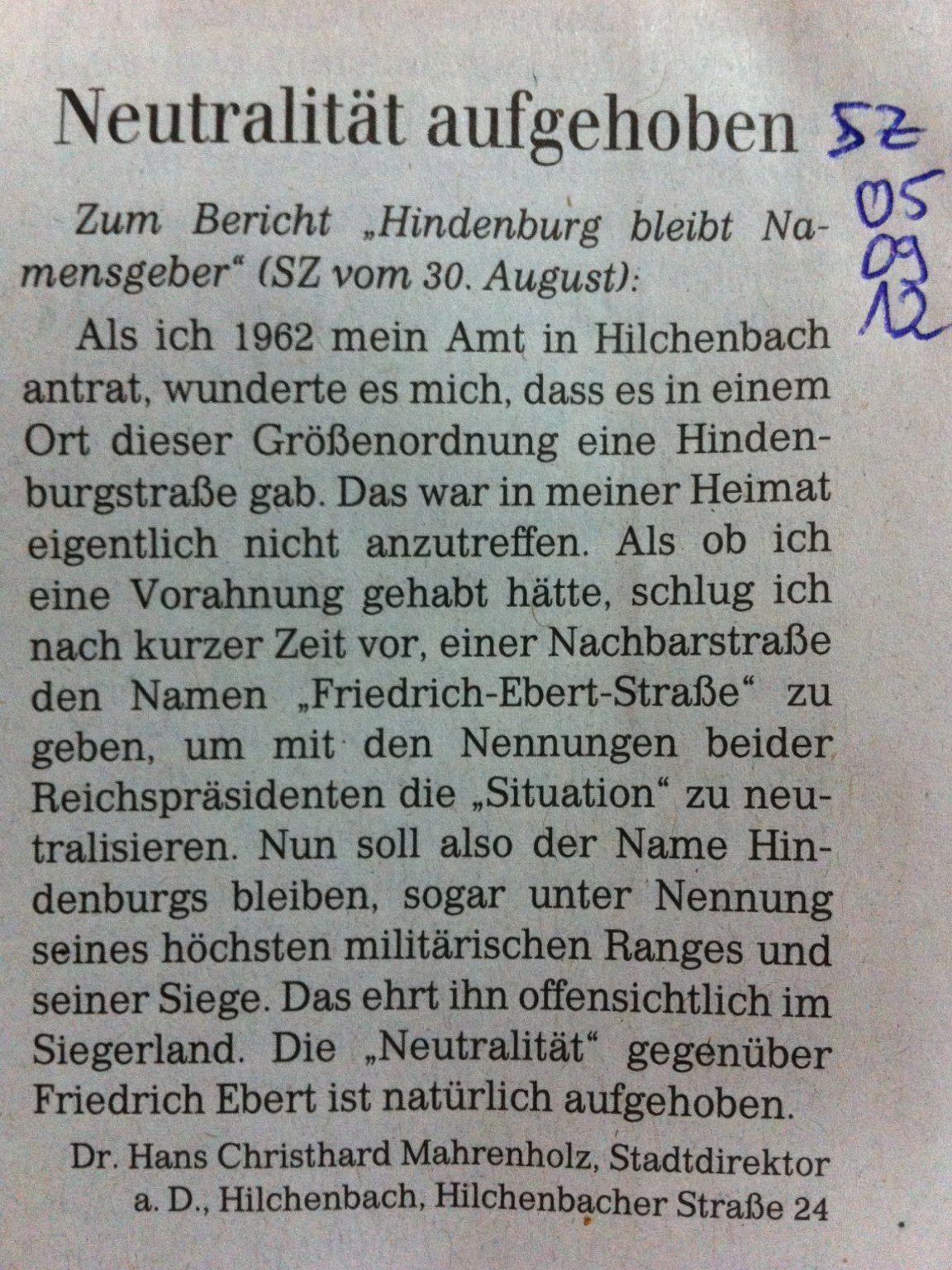 Weitere Stimmen zur Hindenburgstra�e in Hilchenbach